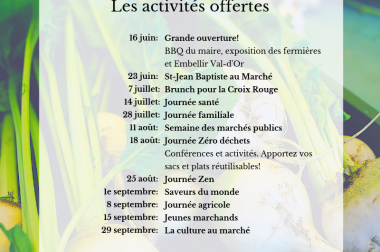 Activités offertes pendant l'été